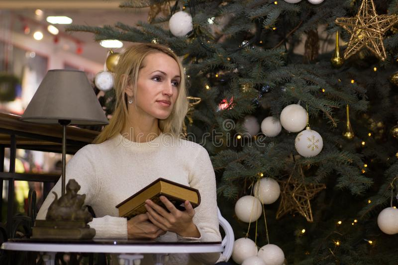 Nice long hair woman celebration Christmas. Nice blonde long hair woman celebration Christmas stock photography