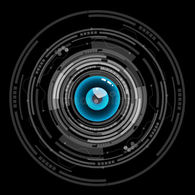 Nice blue eyeball digital technology vector icon. Is a general illustration vector illustration