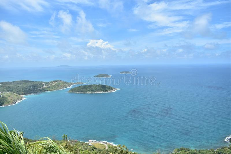 Nice blue sky blue ocean and natural travel Phuket Thailand Asia stock photography