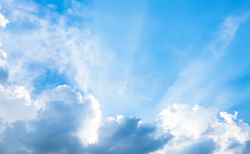 Nice blue sky with sun beam with cloudy royalty free stock images