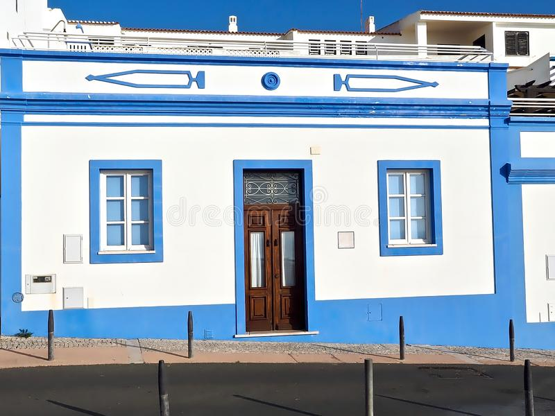 Nice blue and white houses in Albufeira in Portugal. Blue and white houses in Albufeira in Portugal royalty free stock photos