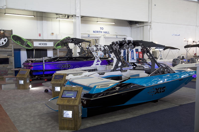 Nice Boat expo in modern City Dallas stock photo