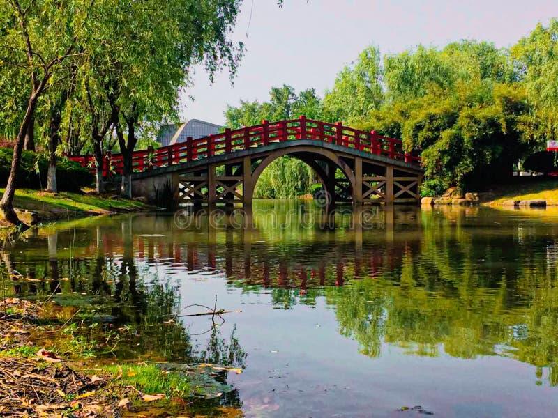 Nice bridge in japanese garden stock photos