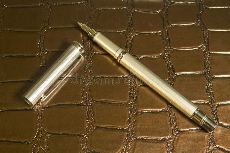 Nice brown notepad and a steel luxury pen royalty free stock photo