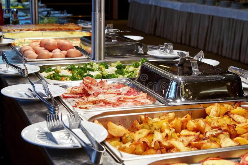 Nice buffet line in a hotel royalty free stock image
