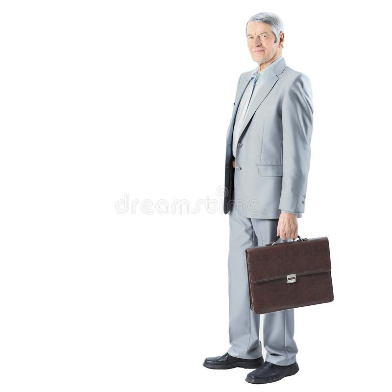 Nice businessman at the age, with a portfolio of. stock images