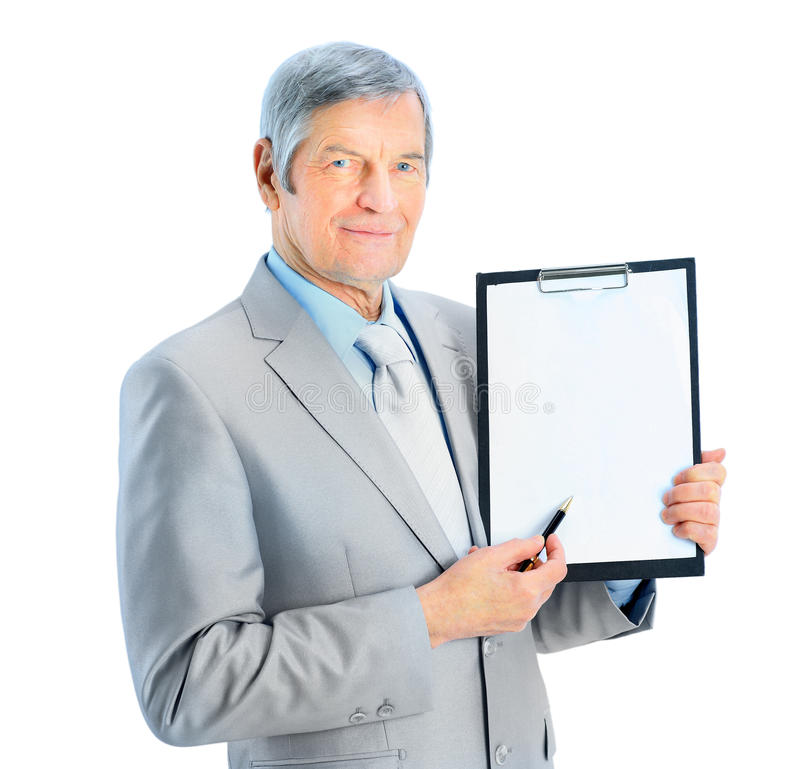Nice businessman at the age royalty free stock photos