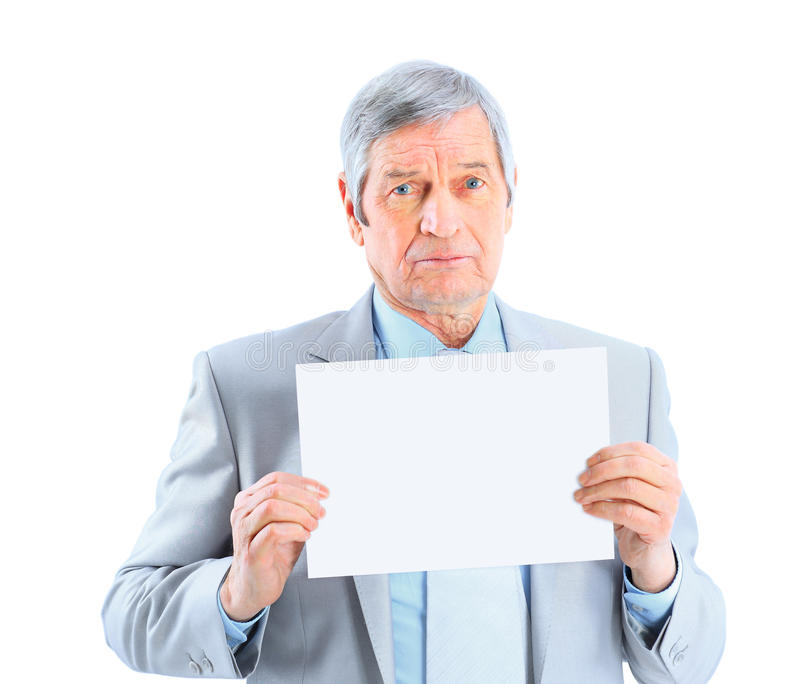 Nice businessman at the age of't holding a big white poster. stock photos