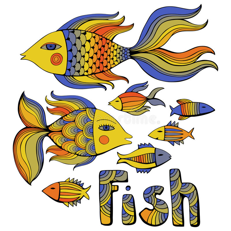 Nice cartoon fishes set. Vector image. stock image