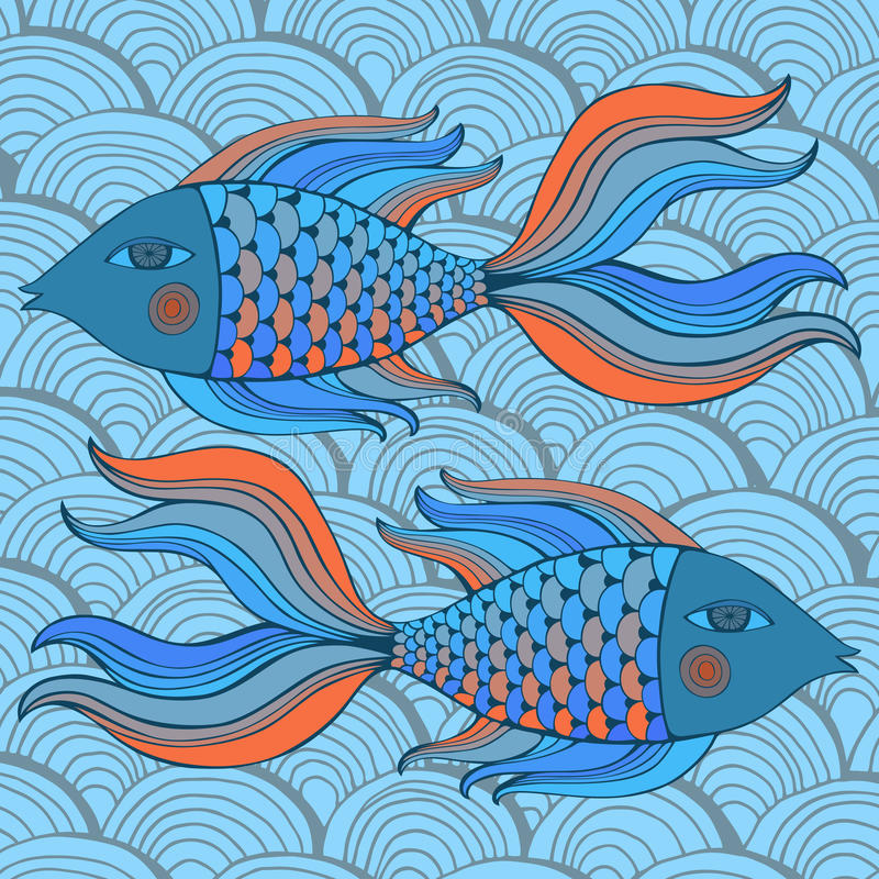 Nice cartoon fishes set. Vector image. royalty free stock photography