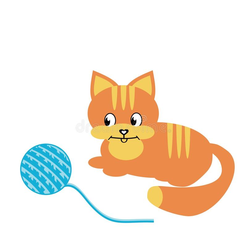 Download Nice cat with clew stock vector. Illustration of game - 15636047