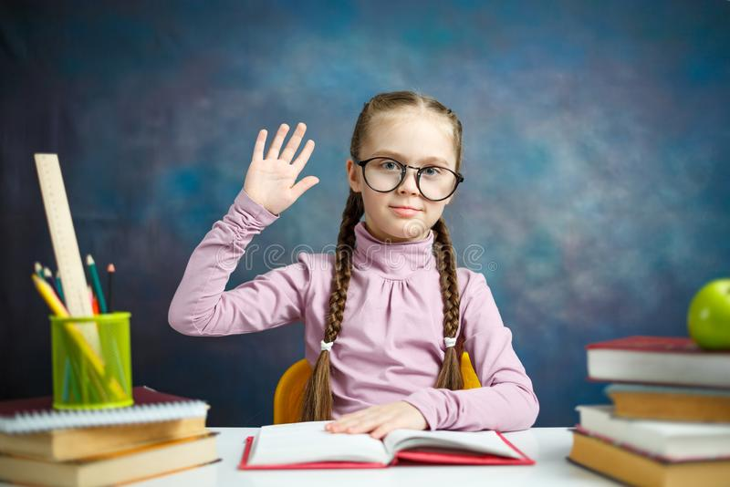 Nice Caucasian Primary Student Girl Study Home stock images