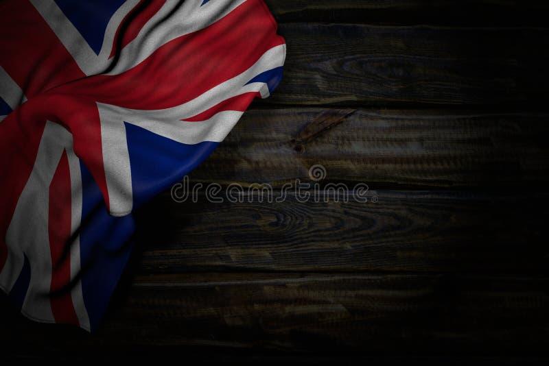 Nice celebration flag 3d illustration - dark photo of United Kingdom UK flag with large folds on old wood with empty place for. Wonderful dark picture of United vector illustration