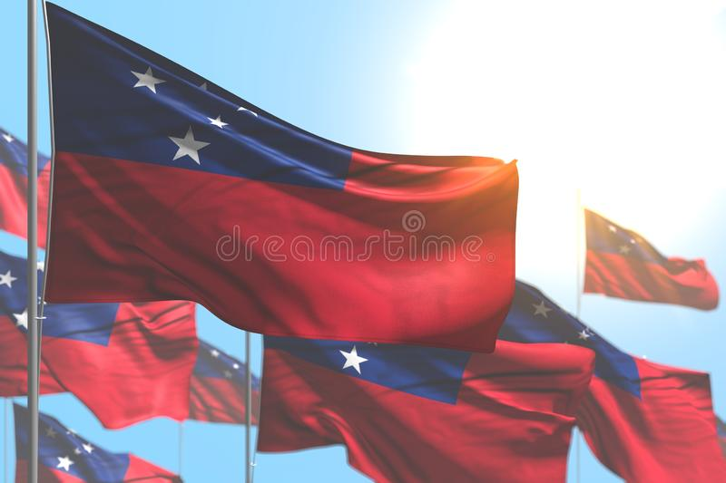Nice celebration flag 3d illustration - many Samoa flags are waving against blue sky picture with selective focus. Cute many Samoa flags are waving against blue royalty free illustration