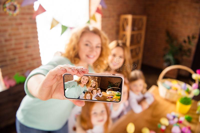 Nice charming lovely sweet attractive cheerful cheery positive lady making taking selfie portrait smartphone gathering royalty free stock photos