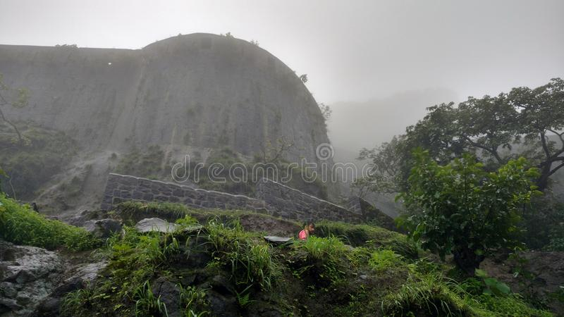 Lohgadh fort in foggy weather stock image