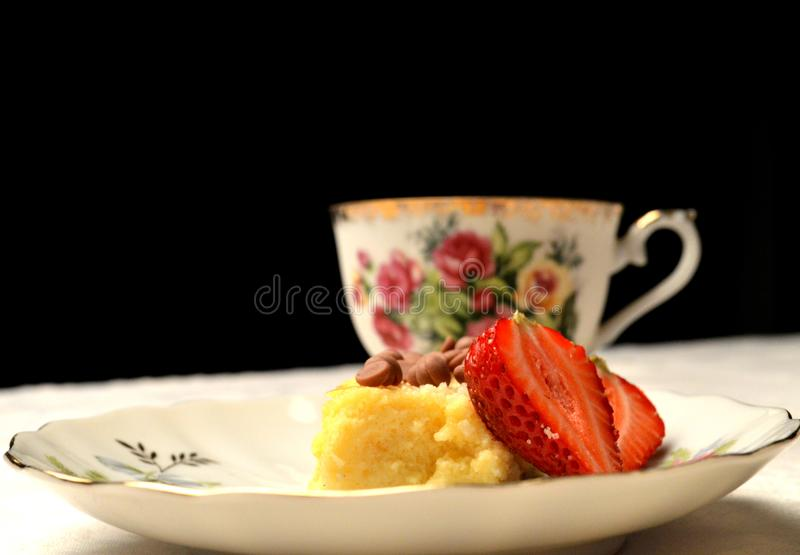 Nice cheesecake dessert with strawberrys royalty free stock image