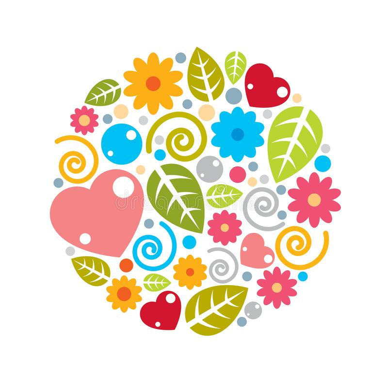 Nice childish circle composition of flowers, hearts and leaves, vector illustration
