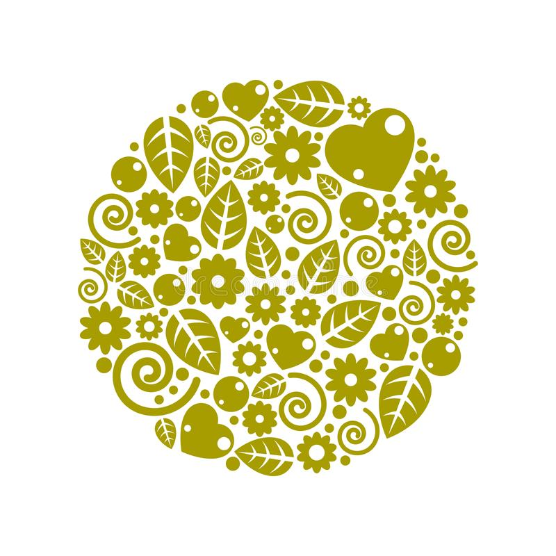 Nice childish circle composition of flowers, hearts and leaves. stock illustration