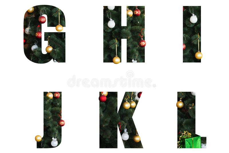 Letters decorated for the New Year and Christmas from a Christmas tree and toys. Nice Christmas Alphabet.New year letters of the alphabet ag h i j k l.Letters of stock photography