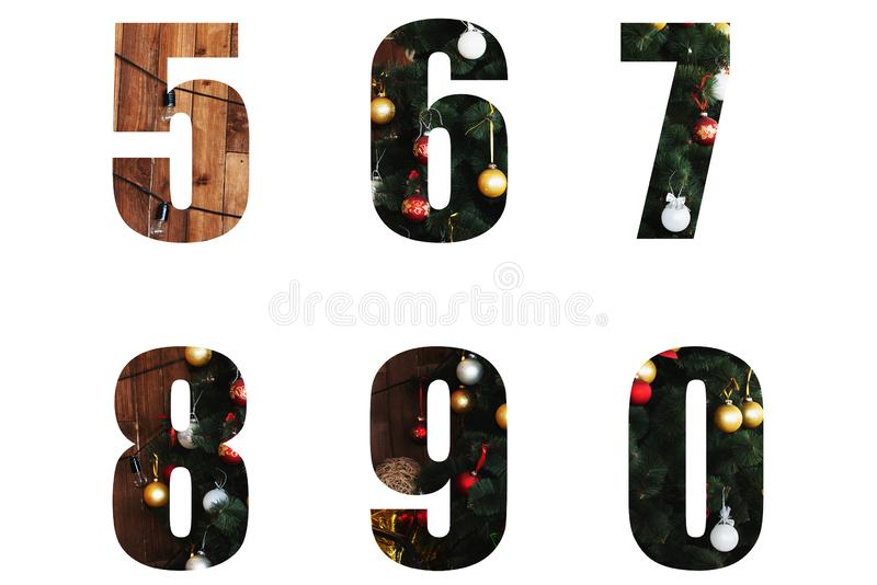 Letters decorated for the New Year and Christmas from a Christmas tree and toys. Nice Christmas Alphabet.New year letters of the alphabet 5 6 7 8 9 0. numbers royalty free stock photos