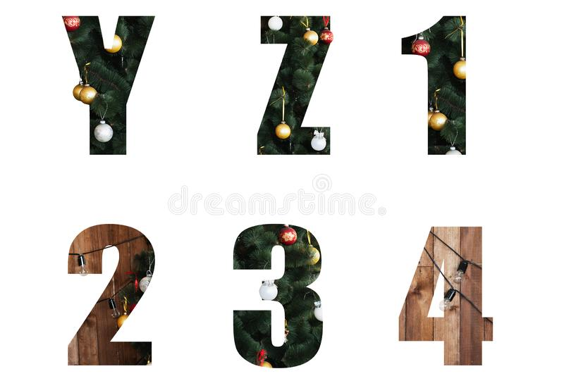 Letters decorated for the New Year and Christmas from a Christmas tree and toys. Nice Christmas Alphabet.New year letters of the alphabet y z 1 2 3 4 .Letters royalty free stock photo