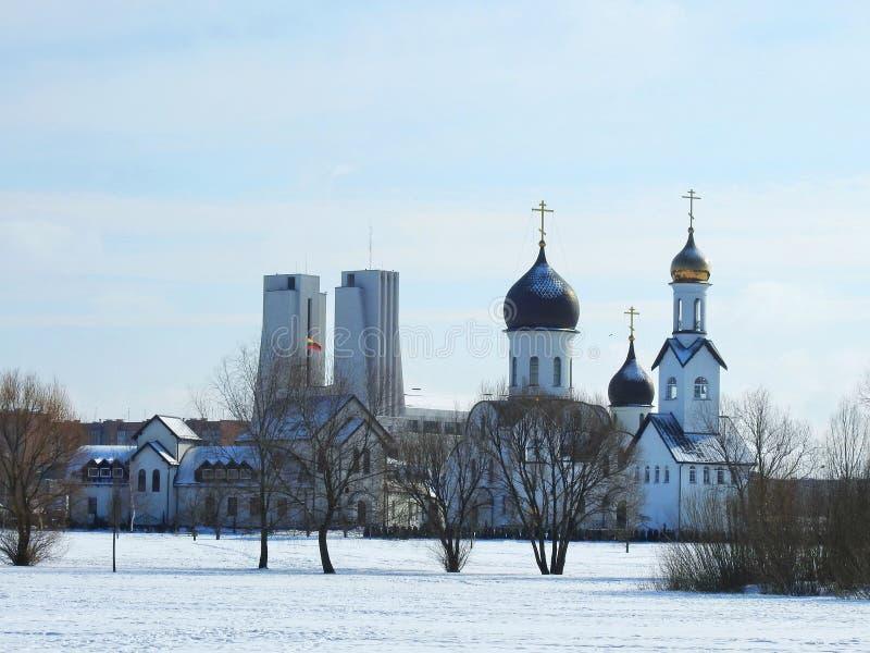 Two beautiful churches in Klaipeda town, Lithuania. Nice churches in Klaipeda in winter royalty free stock photos