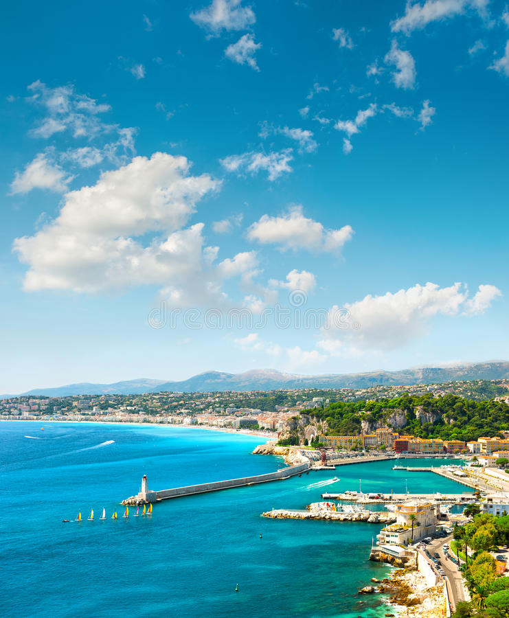 Nice city, France. Azure sea and perfect sunny blue sky. View of mediterranean resort, Nice city, France. Azure sea and perfect sunny blue sky stock image