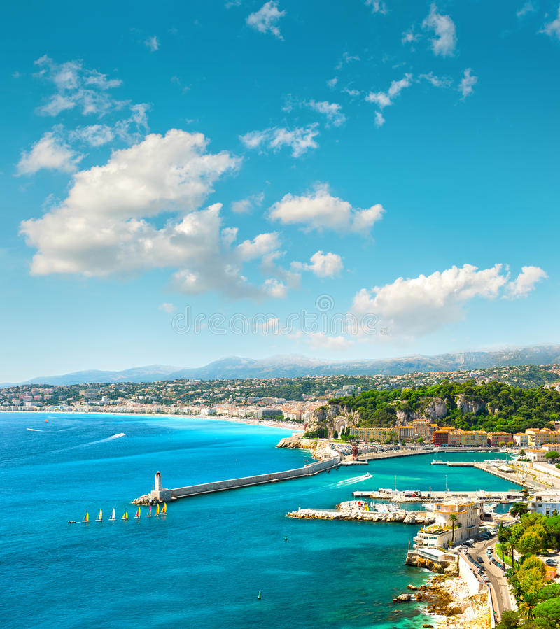 Nice city, France. Azure sea water and perfect sunny blue sky. View of mediterranean resort, Nice city, France. Azure sea water and perfect sunny blue sky royalty free stock photo