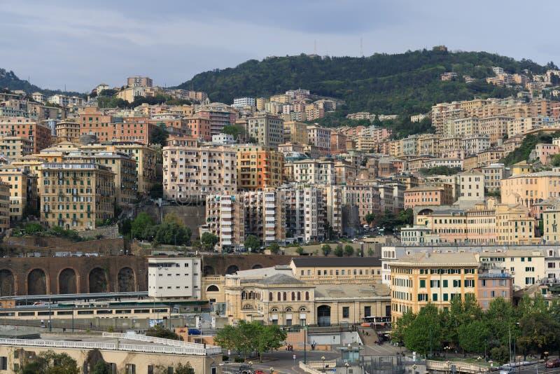 Cityscape of Genoa Italy stock photos