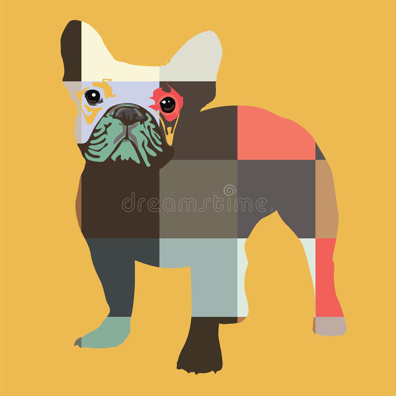 Nice color bulldog print vector illustration