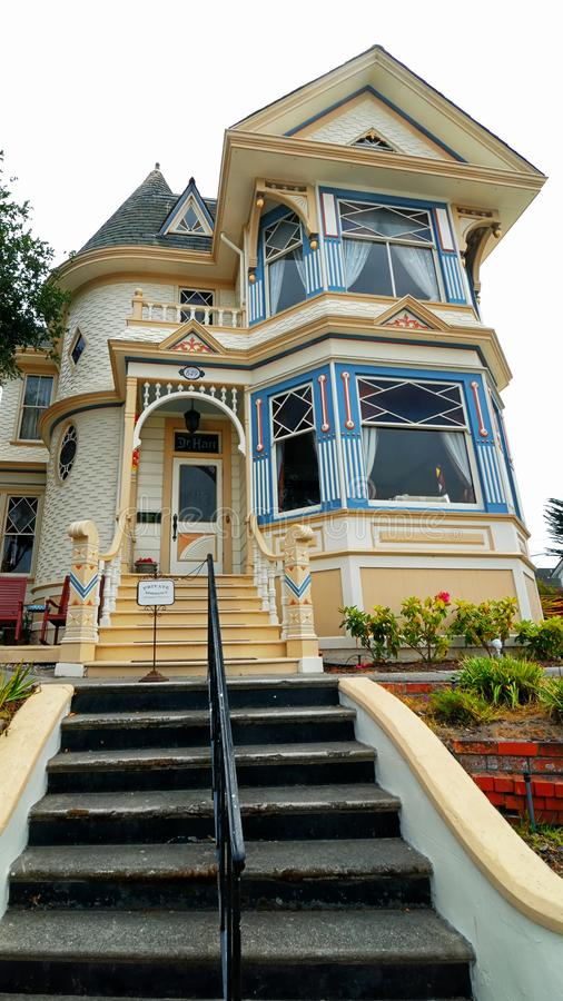 A nice color scheme on another classic Victorian house. royalty free stock photos