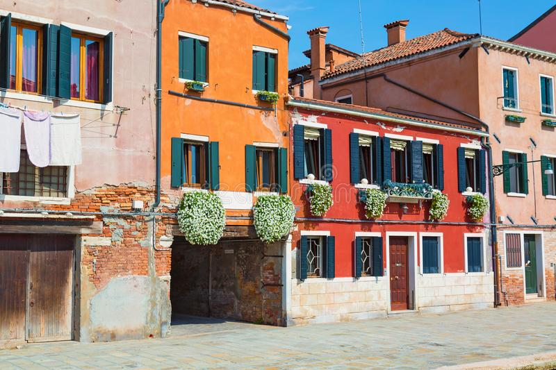 Nice colorful houses street of Venice, Italy stock image