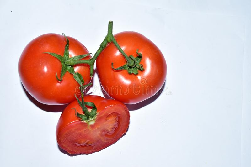 Nice tomatoes  close up in the sunshine stock images
