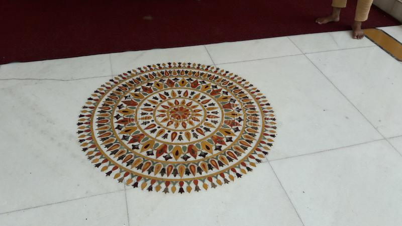 A Nice Colourfull hand Made indian Rangoli...!!!. A Nice Colourfull hand Made indian Rangoli Deseign. A Natural Beautifull temple garden in india royalty free stock photos