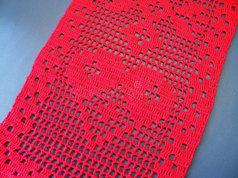 Crochet beautiful red heart royalty free stock image