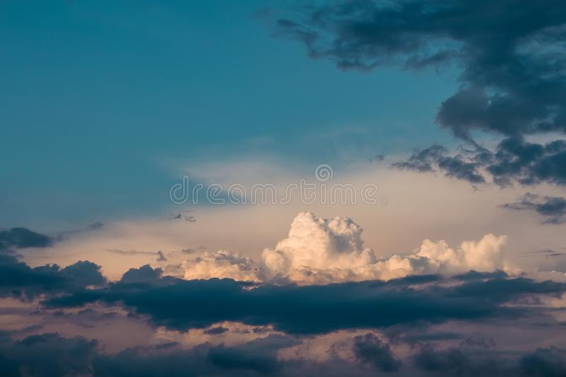 Nice cumulus sunset cloud with blue sky.  royalty free stock photo
