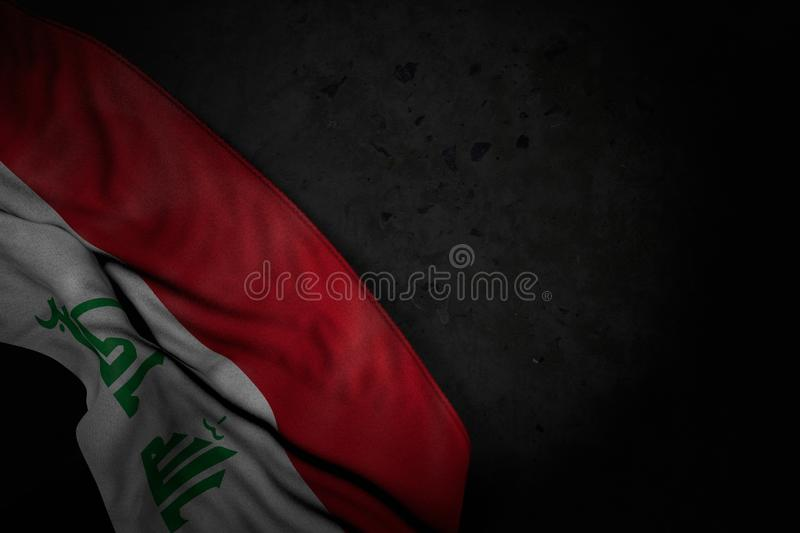 Nice national holiday flag 3d illustration - dark picture of Iraq flag with big folds on black stone with free space for your. Nice dark picture of Iraq flag stock illustration