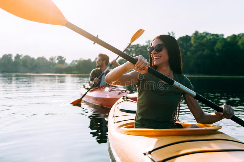 Nice day for kayaking. stock photography