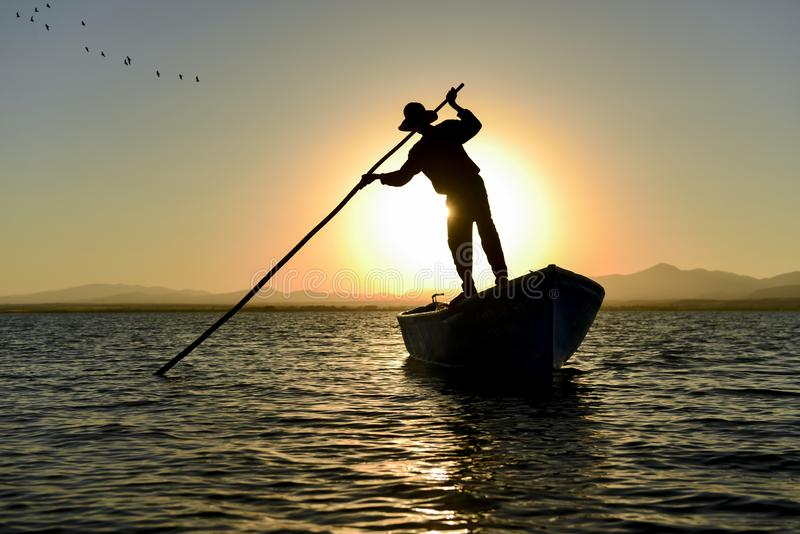 Beginning of work and business concept for fisherman stock photos