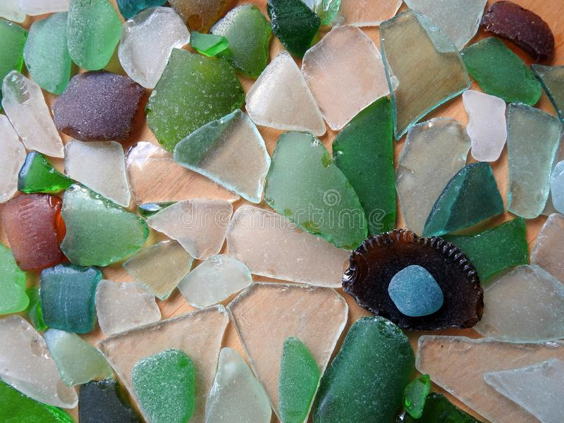 Different shape an colors sea glass, Lithuania royalty free stock image