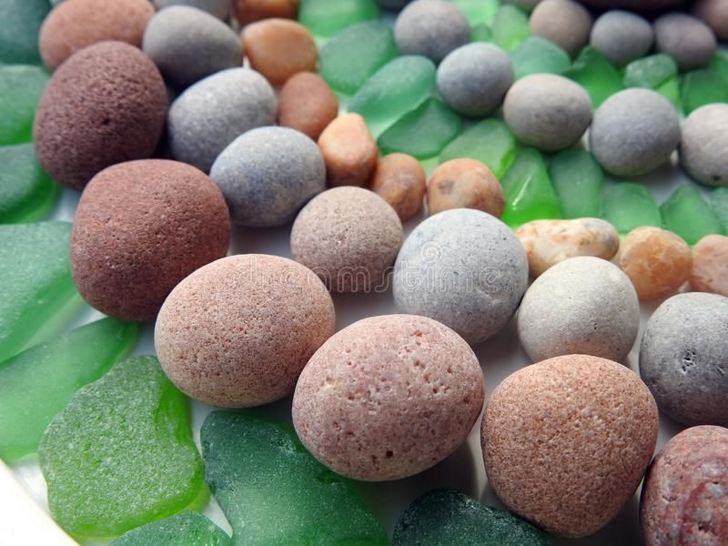 Beautiful different colors Baltic sea stones and glass , Lithuania royalty free stock image