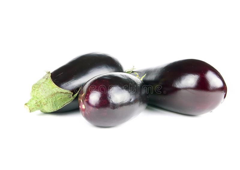 Nice eggplants vegetables on white