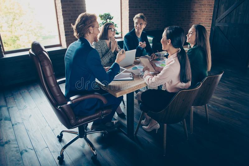 Nice elegant clever smart intelligent cheerful corporate executive top management company appointment discussing royalty free stock photo