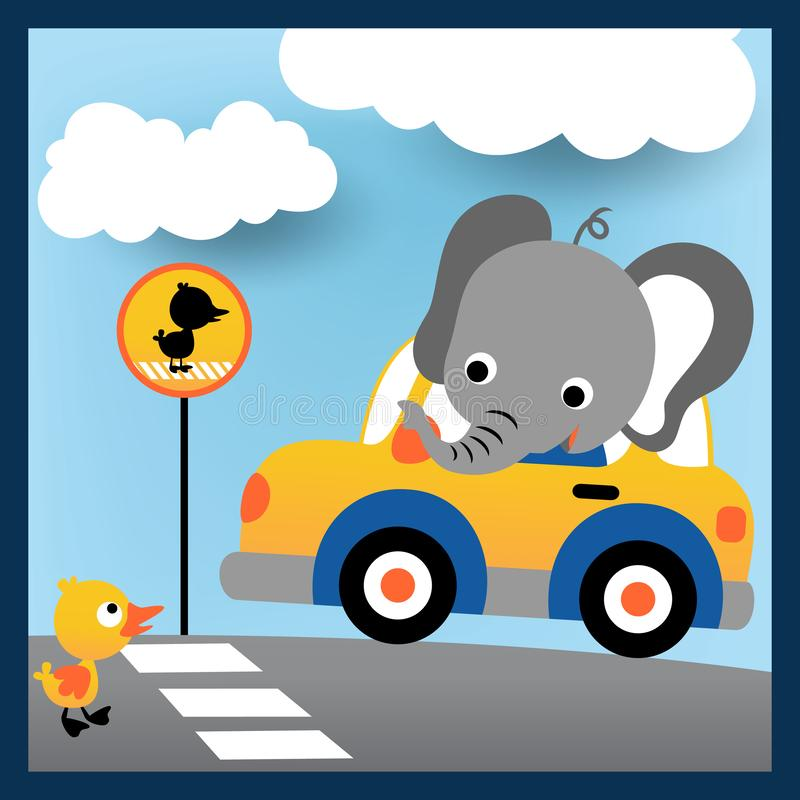 Nice elephant cartoon on car with a little duck in the road royalty free illustration