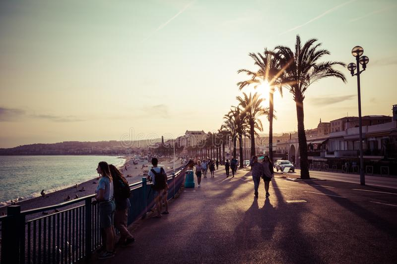 Nice in the evening after sunset. French Riviera. Provence-Alpes-Cote d`Azur, France.  stock photos