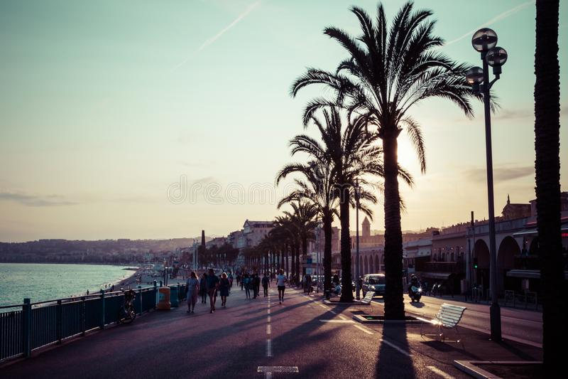 Nice in the evening after sunset. French Riviera. Provence-Alpes-Cote d`Azur, France.  stock image