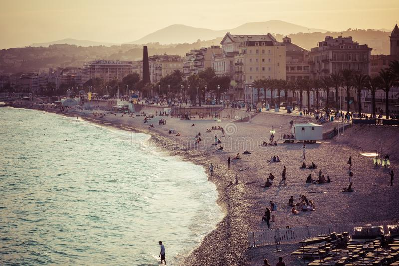 Nice in the evening after sunset. French Riviera. Provence-Alpes-Cote d`Azur, France.  stock images