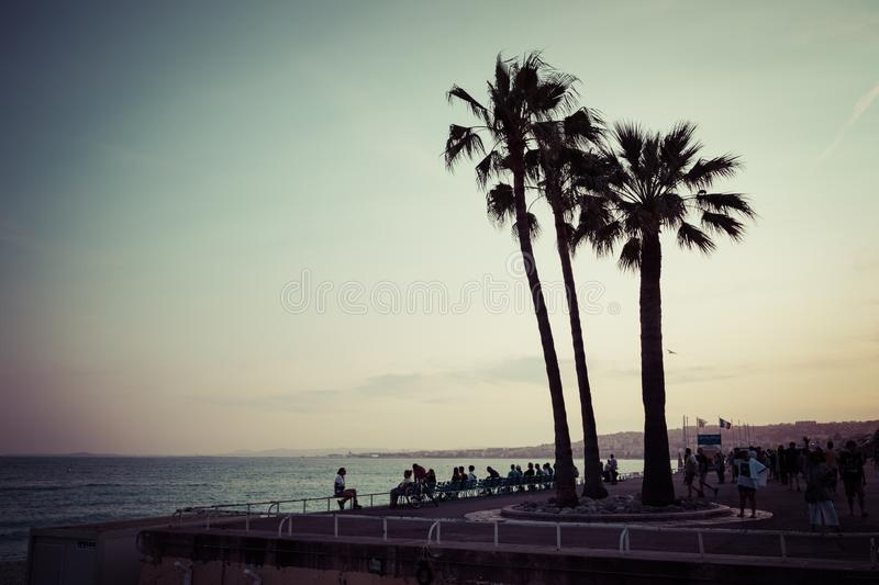 Nice in the evening after sunset. French Riviera. Provence-Alpes-Cote d`Azur, France.  royalty free stock image
