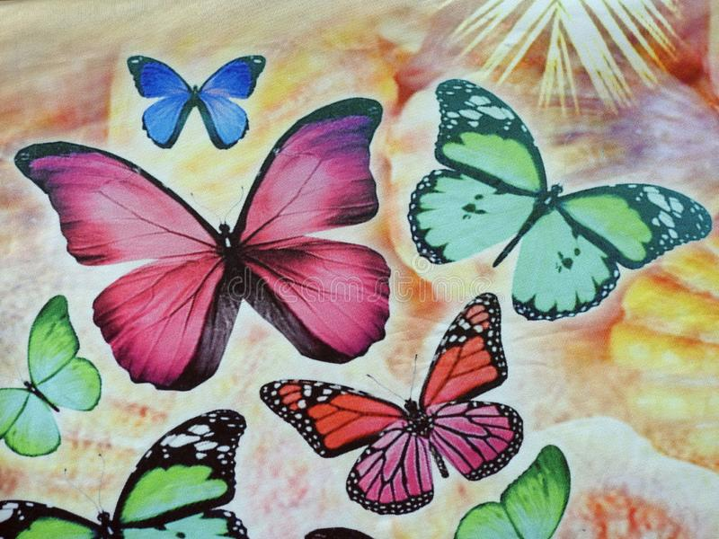 Beautiful soft colorful fabric texture with butterfly , can use as background royalty free stock images
